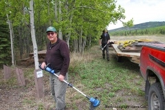 K.S.A. Volunteers working on the Braeburn trail head on the Dawson Overland Trail - May 2020