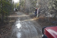 Klondike Snowmobile Association Volunteers doing some maintenance on the multi-use trails near Whitehorse - October 2018