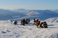 Overlooking Coal Lake on Yukon Wildlife Viewing's Snowmobile for Caribou ride - January 2018