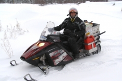Yves Leblanc in Whitehorse on his record-breaking ride - Feb 2007