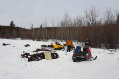 Checking out the Little River Roadhouse site on the annual Dawson Overland Trail Ride - March 2019