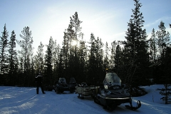 K.S.A. Volunteers hauling building supplies up the Dawson Overland Trail to build the warm up cabin - March 2005