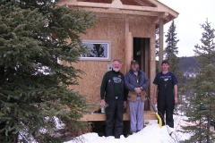 K.S.A. Volunteers constructing the warm up cabin on the Dawson Overland Trail - March 2005