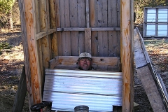 Outhouse construction at the Dawson Overland Trail half way cabin - 2005