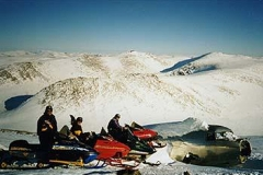"""C.C.S.O. delegates near Haines Junction at the 1954 crash site of a DC-3 (Approx.  61º08' 40"""" N   137º45' 09"""" W)  -  March 1998"""