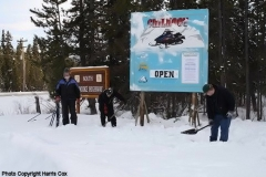 K.S.A. boys putting the finishing touch on the Skagway Summit sign  -  February 2010